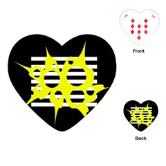 Yellow Abstraction Playing Cards (heart)  by Valentinaart