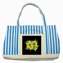 Yellow Abstraction Striped Blue Tote Bag by Valentinaart