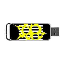 Yellow Abstraction Portable Usb Flash (one Side) by Valentinaart