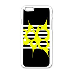 Yellow Abstraction Apple Iphone 6/6s White Enamel Case by Valentinaart