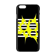 Yellow Abstraction Apple Iphone 6/6s Black Enamel Case by Valentinaart
