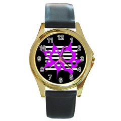 Purple Abstraction Round Gold Metal Watch by Valentinaart