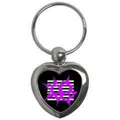 Purple Abstraction Key Chains (heart)  by Valentinaart
