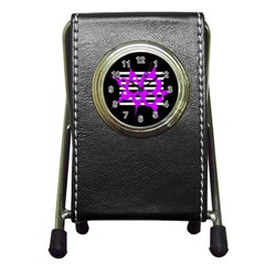 Purple Abstraction Pen Holder Desk Clocks