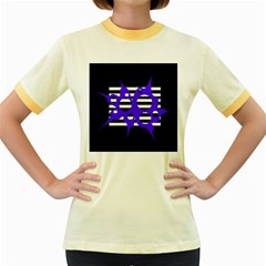 Blue Abstract Design Women s Fitted Ringer T Shirts