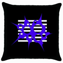 Blue Abstract Design Throw Pillow Case (black) by Valentinaart