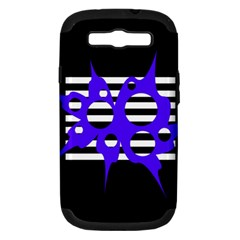 Blue Abstract Design Samsung Galaxy S Iii Hardshell Case (pc+silicone) by Valentinaart