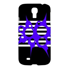 Blue Abstract Design Samsung Galaxy S4 I9500/i9505 Hardshell Case by Valentinaart