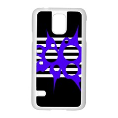 Blue Abstract Design Samsung Galaxy S5 Case (white) by Valentinaart