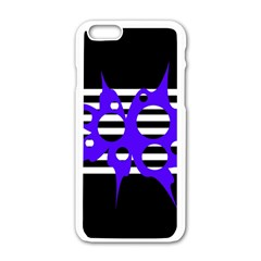 Blue Abstract Design Apple Iphone 6/6s White Enamel Case by Valentinaart