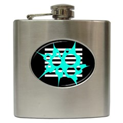 Cyan Abstract Design Hip Flask (6 Oz) by Valentinaart