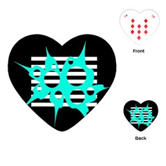 Cyan Abstract Design Playing Cards (heart)  by Valentinaart