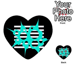 Cyan Abstract Design Multi Purpose Cards (heart)  by Valentinaart