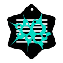 Cyan Abstract Design Snowflake Ornament (2 Side) by Valentinaart