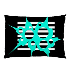 Cyan Abstract Design Pillow Case (two Sides) by Valentinaart