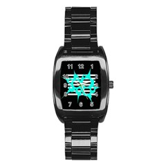 Cyan Abstract Design Stainless Steel Barrel Watch by Valentinaart