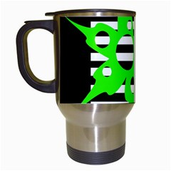 Green Abstract Design Travel Mugs (white) by Valentinaart