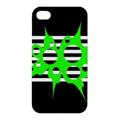 Green Abstract Design Apple Iphone 4/4s Hardshell Case by Valentinaart