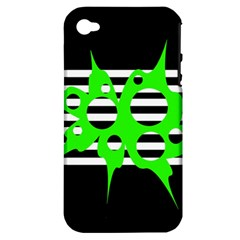 Green Abstract Design Apple Iphone 4/4s Hardshell Case (pc+silicone) by Valentinaart