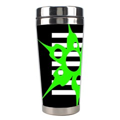 Green Abstract Design Stainless Steel Travel Tumblers by Valentinaart