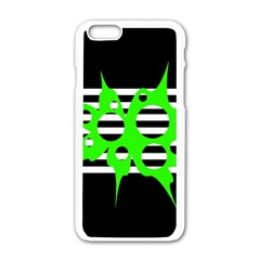 Green Abstract Design Apple Iphone 6/6s White Enamel Case by Valentinaart