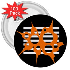 Orange Abstract Design 3  Buttons (100 Pack)  by Valentinaart
