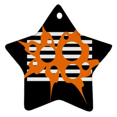 Orange Abstract Design Star Ornament (two Sides)  by Valentinaart
