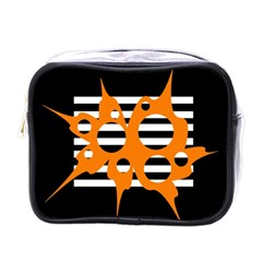 Orange Abstract Design Mini Toiletries Bags by Valentinaart
