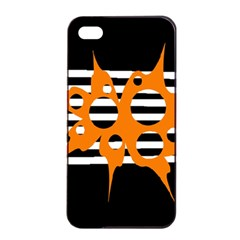 Orange Abstract Design Apple Iphone 4/4s Seamless Case (black) by Valentinaart