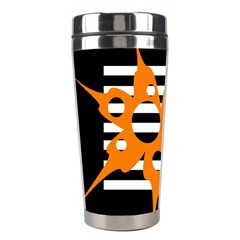Orange Abstract Design Stainless Steel Travel Tumblers by Valentinaart
