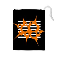 Orange Abstract Design Drawstring Pouches (large)  by Valentinaart