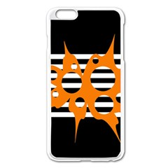 Orange Abstract Design Apple Iphone 6 Plus/6s Plus Enamel White Case by Valentinaart