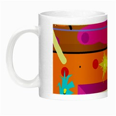 Orange Abstraction Night Luminous Mugs by Valentinaart