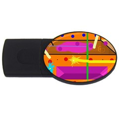 Orange Abstraction Usb Flash Drive Oval (4 Gb)  by Valentinaart