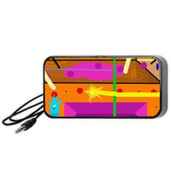 Orange Abstraction Portable Speaker (black)  by Valentinaart