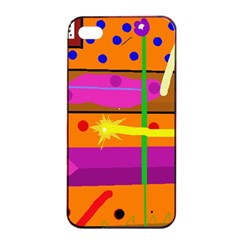 Orange Abstraction Apple Iphone 4/4s Seamless Case (black) by Valentinaart