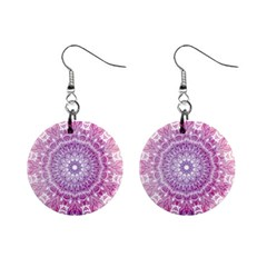 Pink Watercolour Mandala Mini Button Earrings