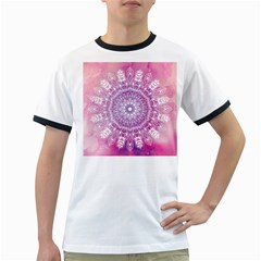 Pink Watercolour Mandala Ringer T Shirts