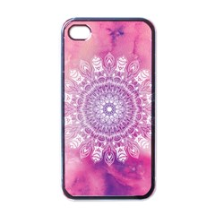 Pink Watercolour Mandala Apple Iphone 4 Case (black) by TanyaDraws