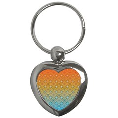 Ombre Fire And Water Pattern Key Chains (heart)