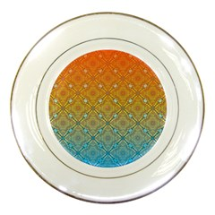 Ombre Fire And Water Pattern Porcelain Plates by TanyaDraws
