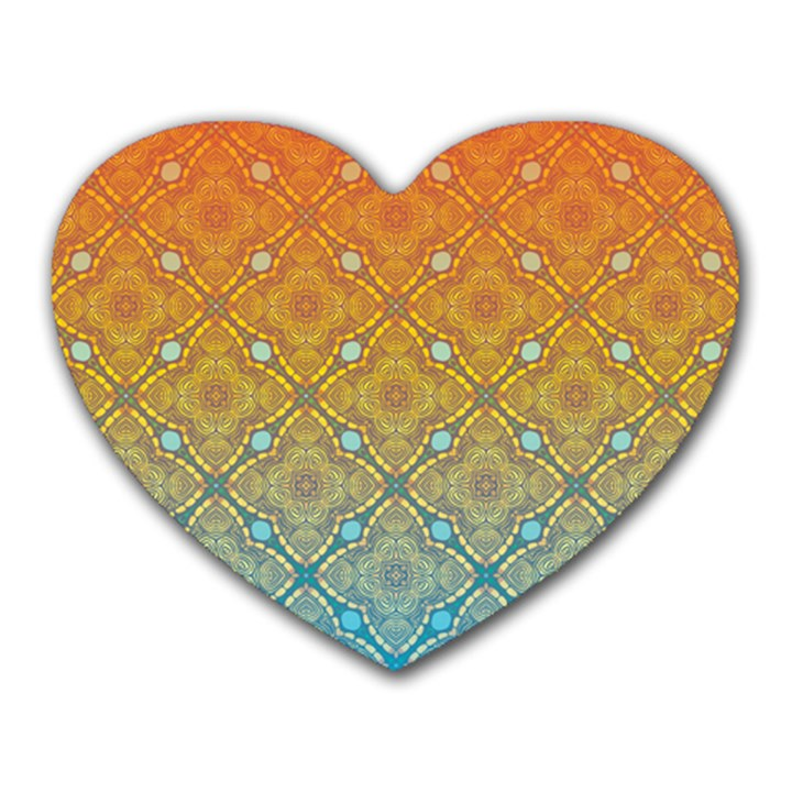 Ombre Fire and Water Pattern Heart Mousepads