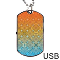 Ombre Fire And Water Pattern Dog Tag Usb Flash (two Sides)  by TanyaDraws