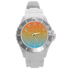 Ombre Fire And Water Pattern Round Plastic Sport Watch (l) by TanyaDraws