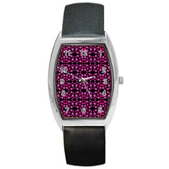 Dots Pattern Pink Barrel Style Metal Watch by BrightVibesDesign