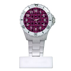 Dots Pattern Pink Plastic Nurses Watch by BrightVibesDesign