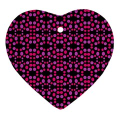 Dots Pattern Pink Ornament (heart)  by BrightVibesDesign