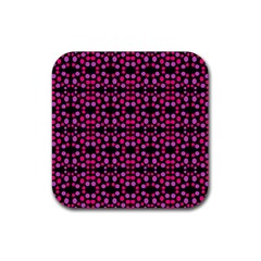 Dots Pattern Pink Rubber Coaster (square)  by BrightVibesDesign