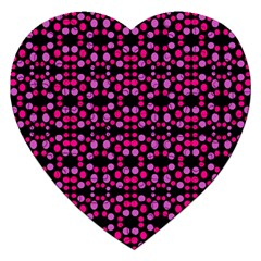 Dots Pattern Pink Jigsaw Puzzle (heart) by BrightVibesDesign
