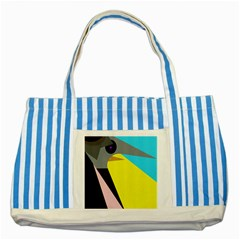 Angry Bird Striped Blue Tote Bag by Valentinaart